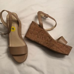 cork wedges with beige leather